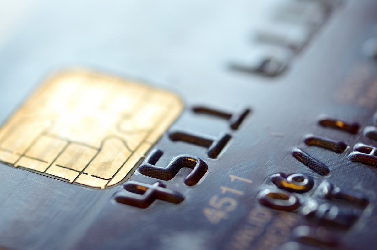 closeup of a credit card