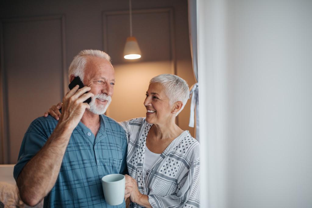 senior couple inside their home