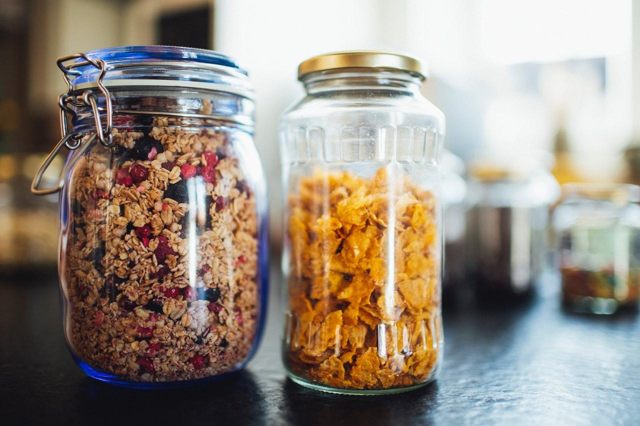 grains in jars