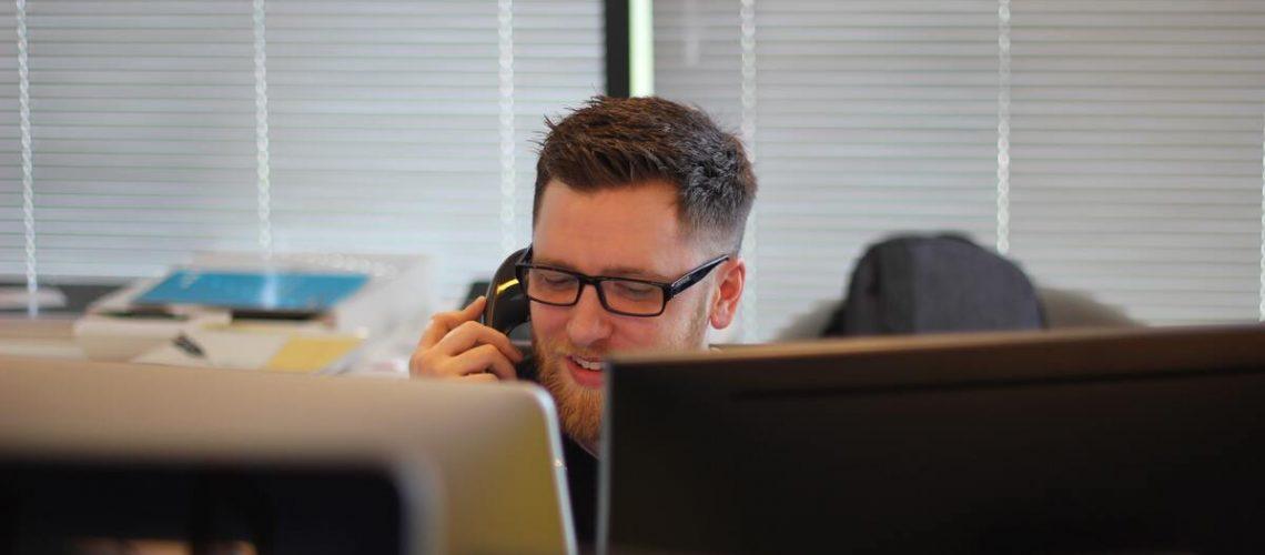 man doing office work