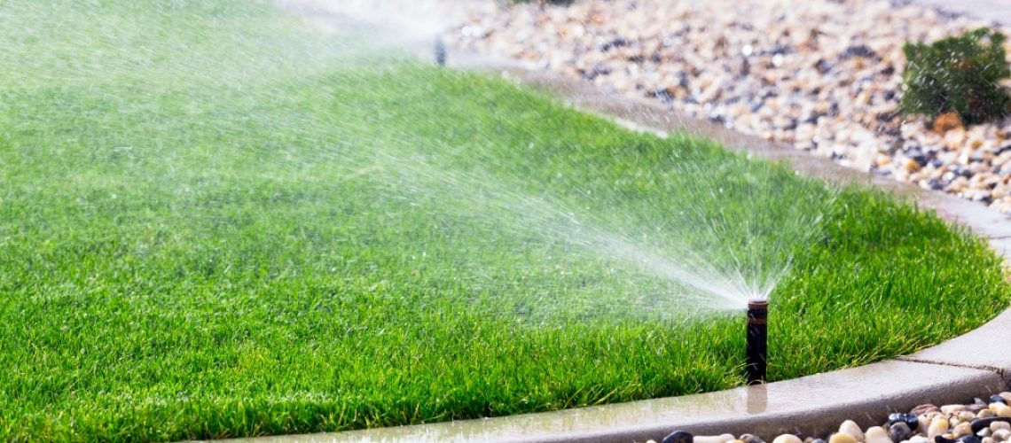 water sprinkler on front lawn
